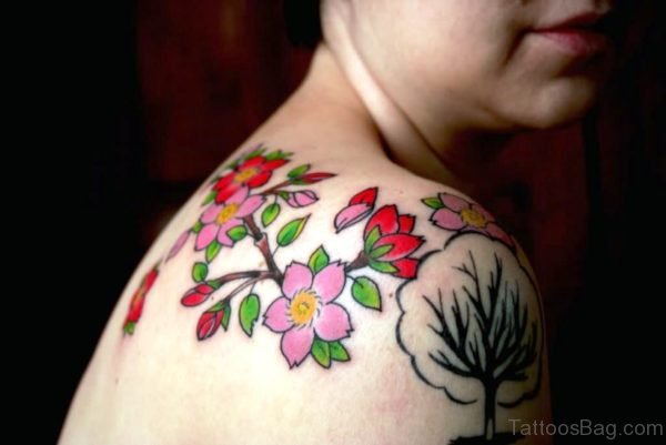 Nice Colorful Cherry Blossom Flower Tattoo