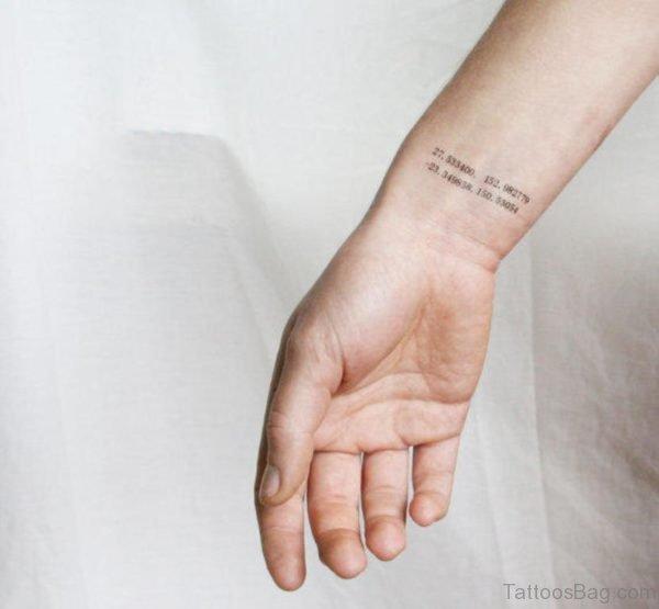 Nice Coordinates Wrist Tattoo