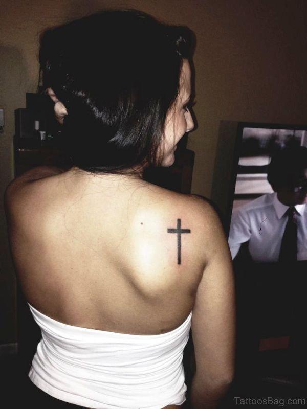 Nice Cross Tattoo On Shoulder Back