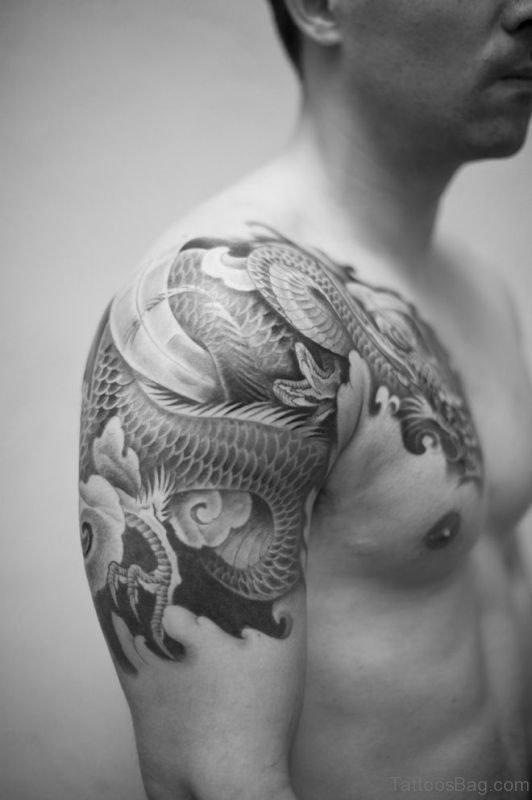 Nice Dragon Shoulder Half Sleeves Tattoo