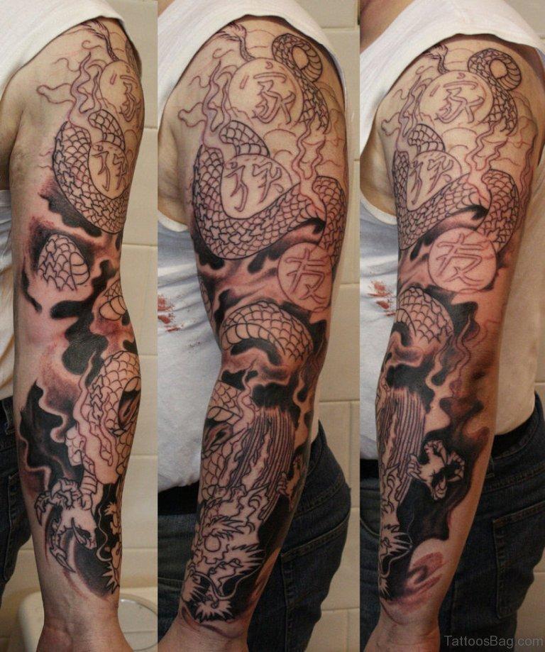 50 best dragon tattoos on full sleeve. Black Bedroom Furniture Sets. Home Design Ideas