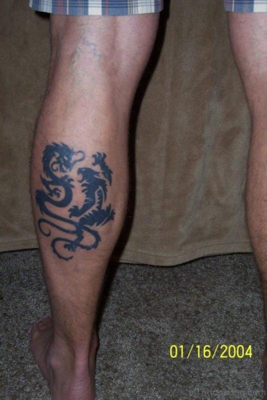 Nice Dragon Tattoo On The Leg