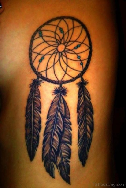Nice Dreamcatcher Tattoo On Rib
