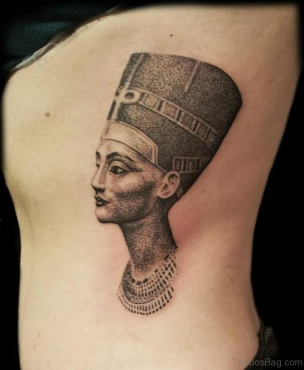 Nice Egyptian Queen Tattoo On Rib Side
