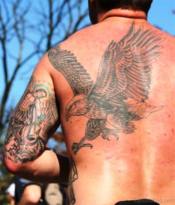 Nice Flying Eagle Tattoo Design
