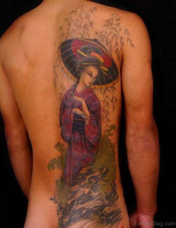 Nice Geisha Tattoo On Back For Women