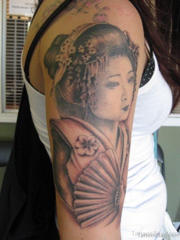 Nice Geisha Tattoo On Shoulder