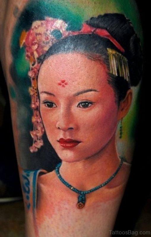 Nice Geisha Tattoo On Shoulder Image