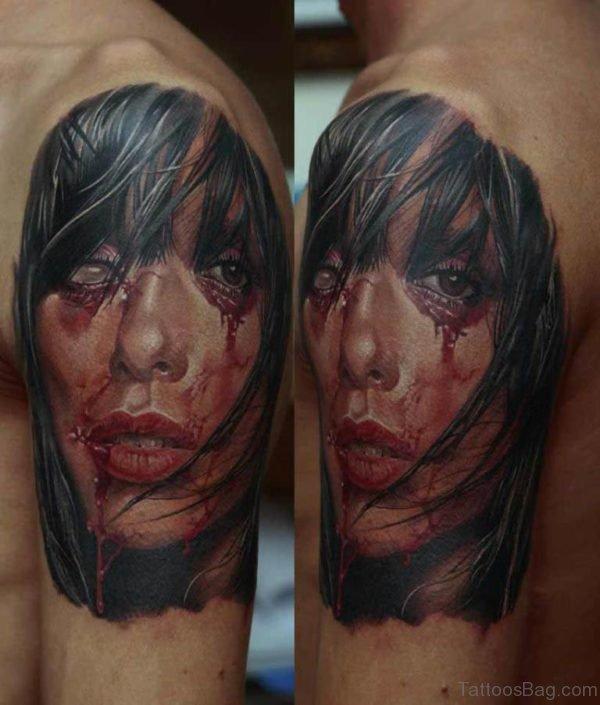 Nice Girl Portrait Tattoo On Bicep