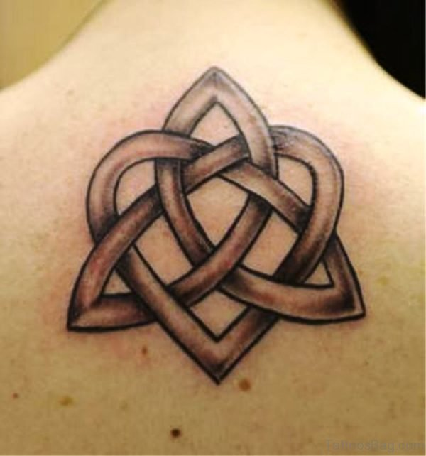 Nice Grey Celtic Knot Tattoo On Upper Back
