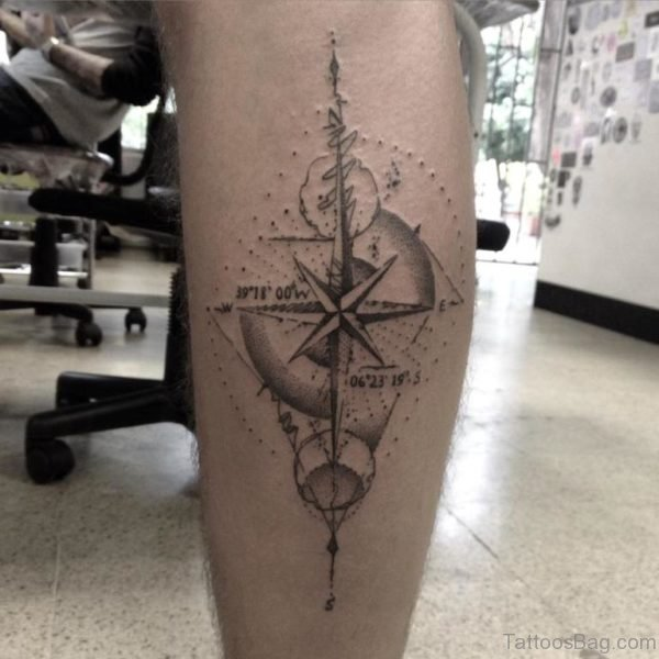 Nice Grey Ink Compass Tattoo On Back Leg