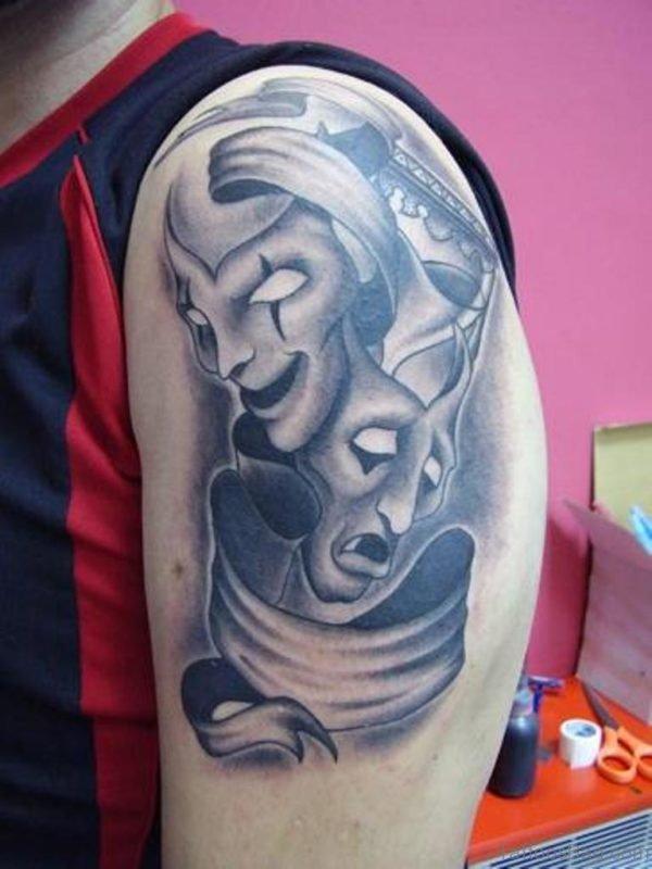Nice Grey Ink Theatre Masks Tattoos For Shoulder