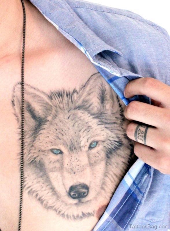 Nice Grey Ink Wolf Head Tattoo On chest