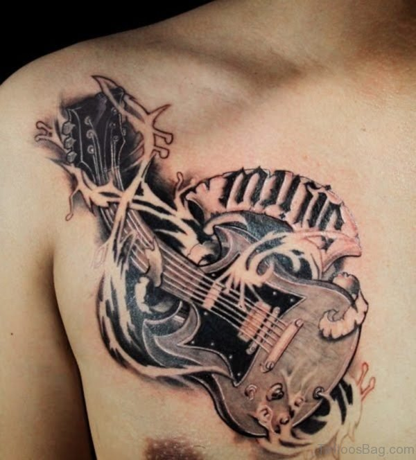 Nice Grey Inked Music Guitar Tattoo