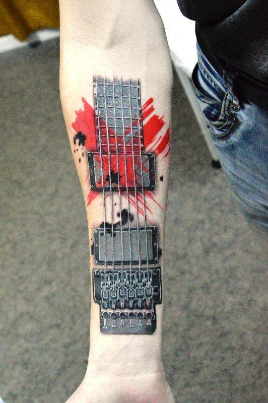 Nice Guitar Tattoo On Forearm
