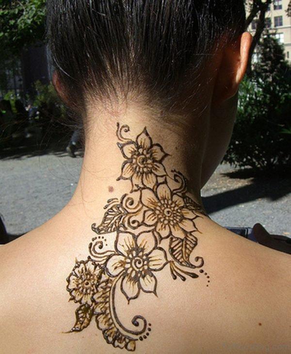Nice Henna Tattoo On Neck