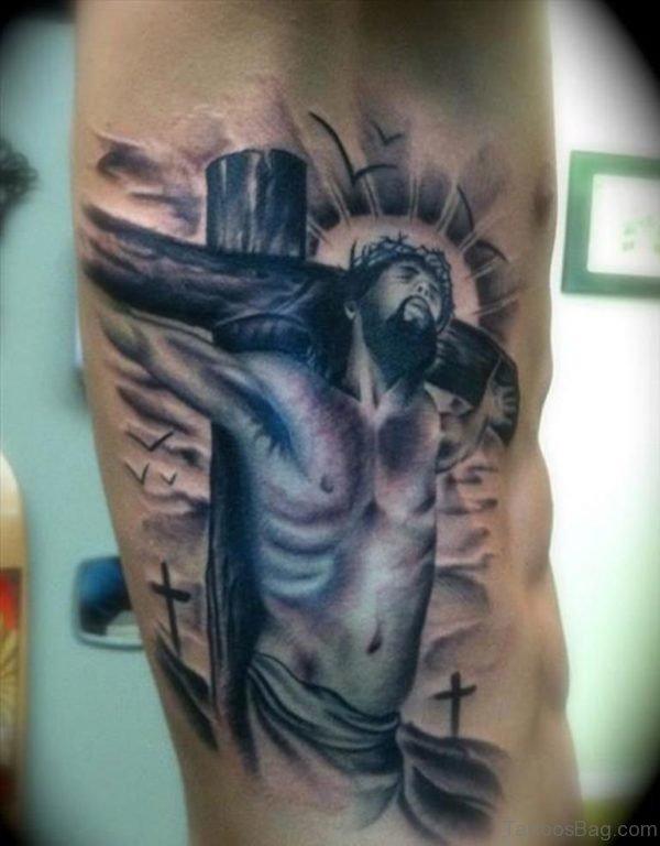 Nice Jesus Christ Tattoo On Man Side Rib