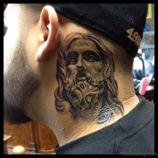 Nice Jesus Neck Tattoo