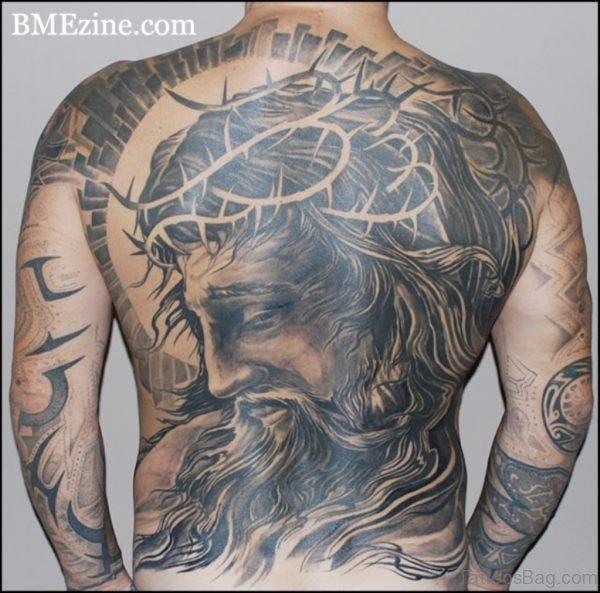 Nice Jesus Tattoo On Back