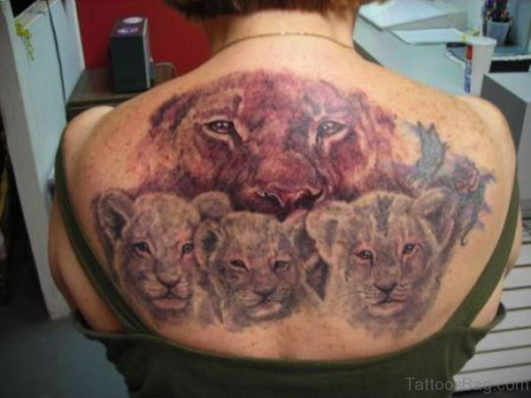 Nice Lion Family Tattoo On Back