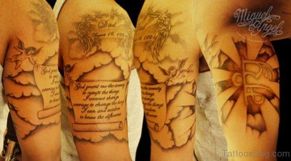 Nice Literacy Cloud Shoulder Tattoo