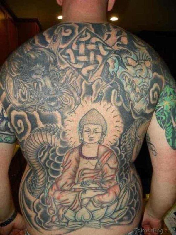 Nice Looking Buddha Tattoo On Back
