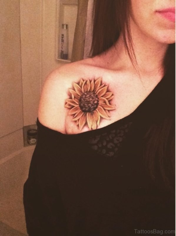 Nice Looking Sunflower Tattoo