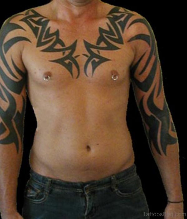 Nice Looking Tribal Tattoo On Chest