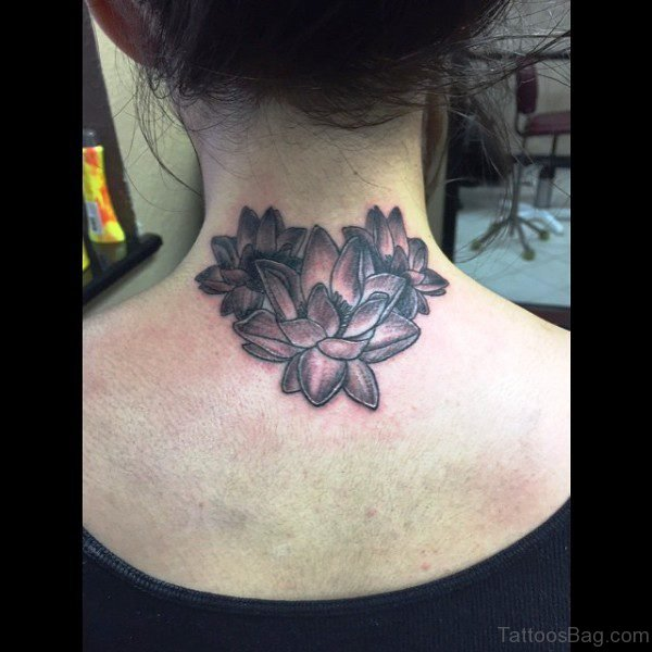 Nice Lotus Neck Tattoo