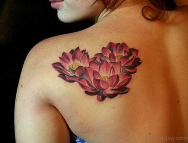 Nice Lotus Shoulder Blade Tattoo
