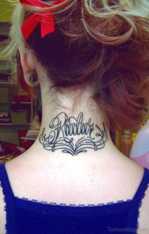 Nice Lotus Tattoo On Back Neck