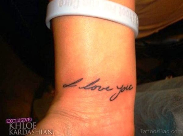 Nice Love You Tattoo On Wrist