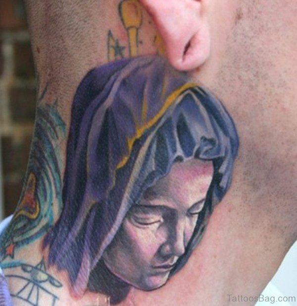 Nice Mary Tattoo On Neck 1