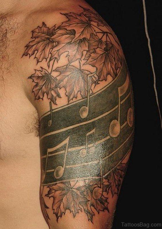 Nice Music Shoulder Tattoo Design
