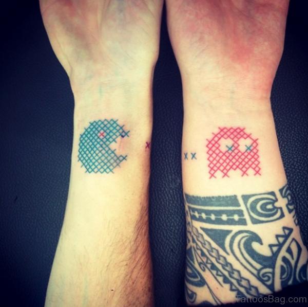 Nice Pacman Wrist Tattoo
