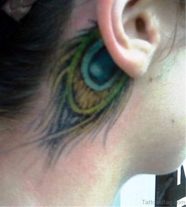 Nice Peacock Feather Tattoo On Neck Behind Ear