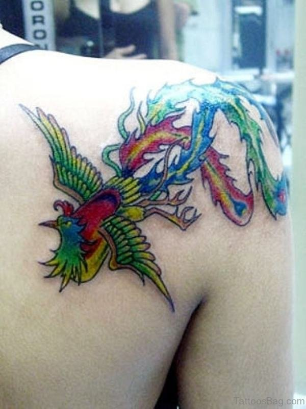 Nice Phoenix Shoulder Tattoo Design