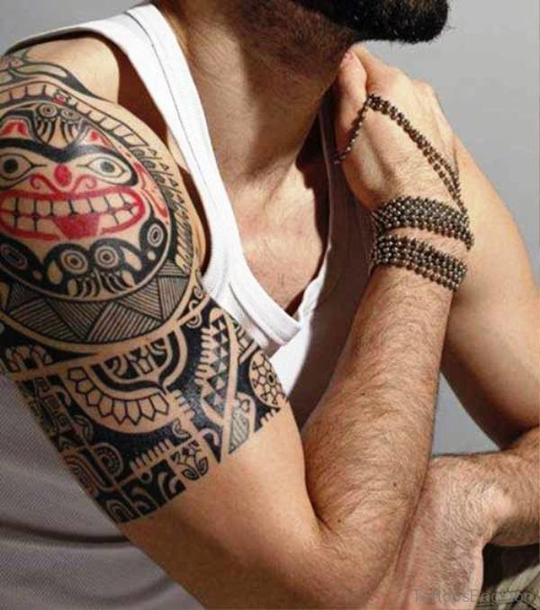 Nice Red And Black Maori Tattoo