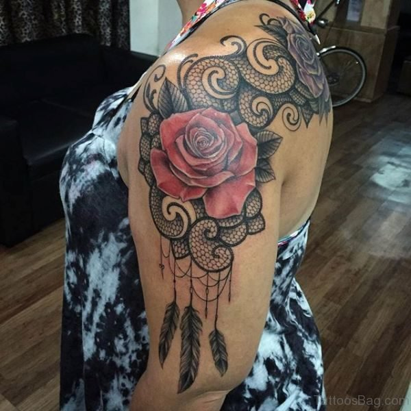 Nice Rose Lace Shoulder Tattoo