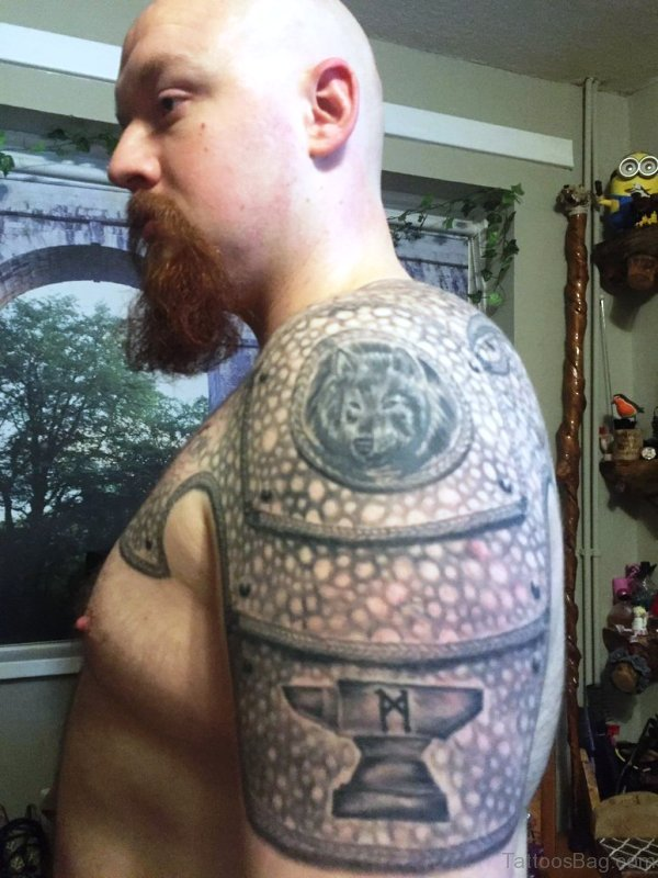 Nice Shield Armour Shoulder Tattoo