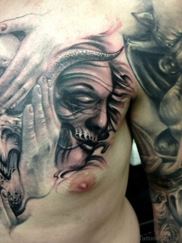 Nice Skull Chest Tattoo