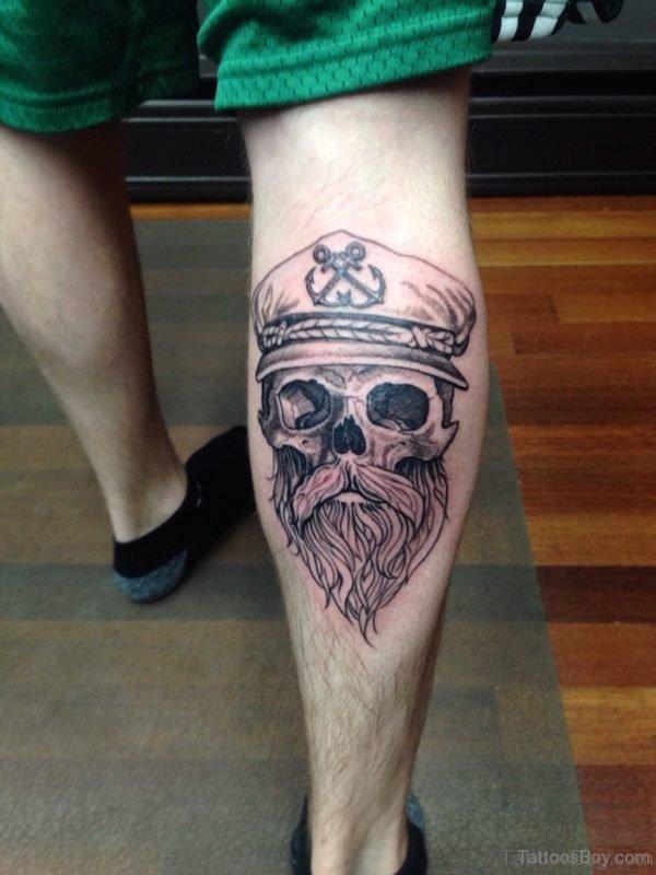 Nice Skull Tattoo On Leg