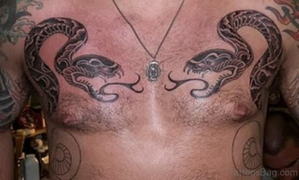 Nice Snake Tattoo For Chest