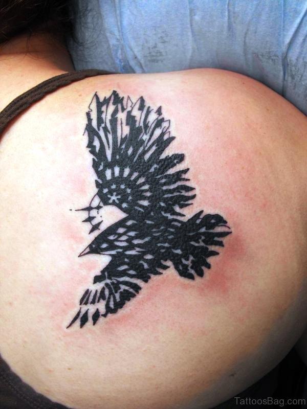 Nice Tribal Eagle Shoulder Tattoo