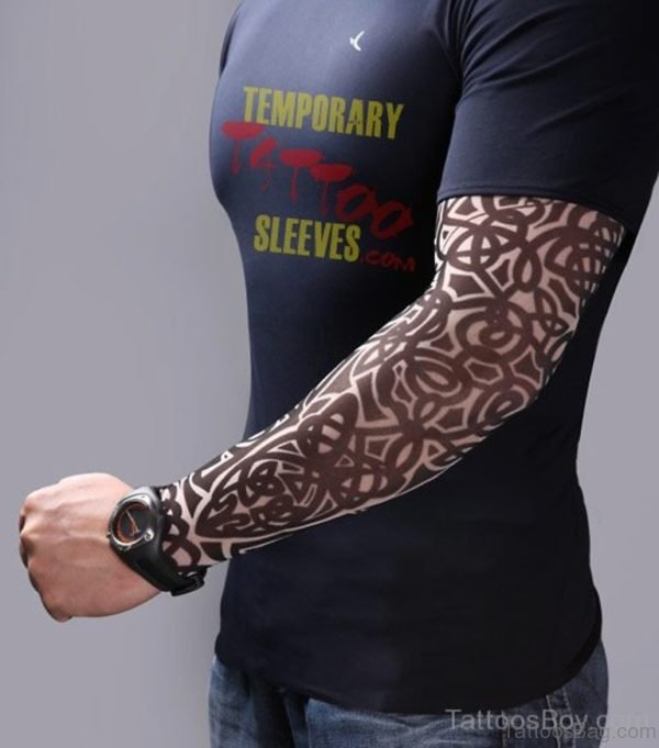 Nice Tribal Tattoo Design On Full Sleeve