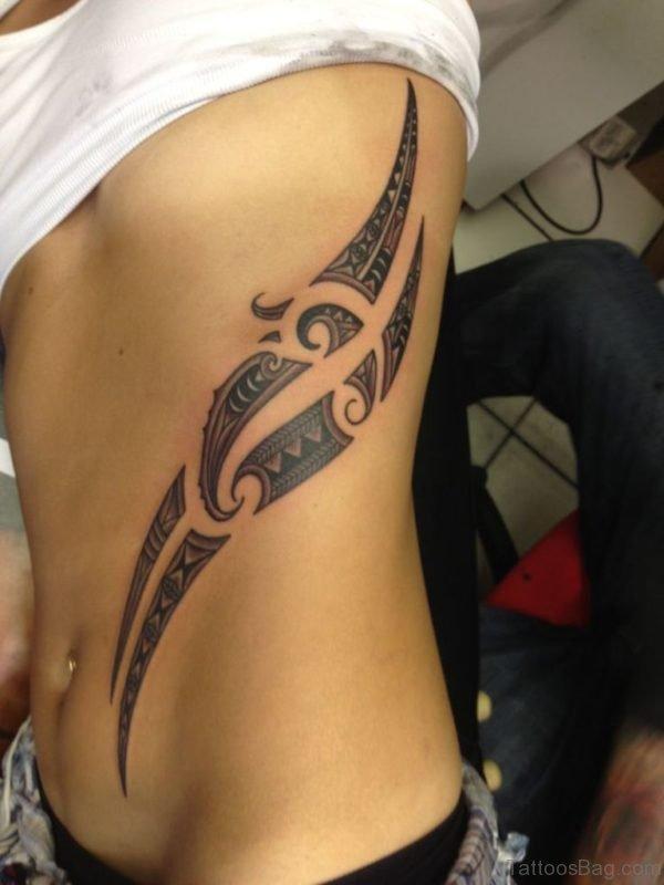 Nice Tribal Tattoo Design On Rib