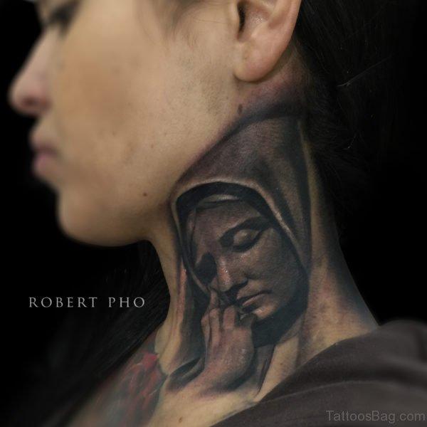 Nice Virgin Marry Tattoo On Neck