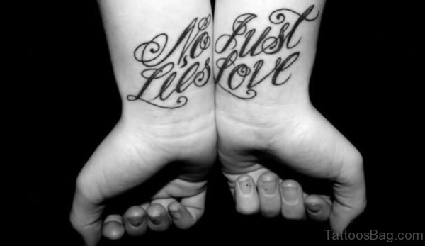 No Lies Just Love Ambigram Tattoo