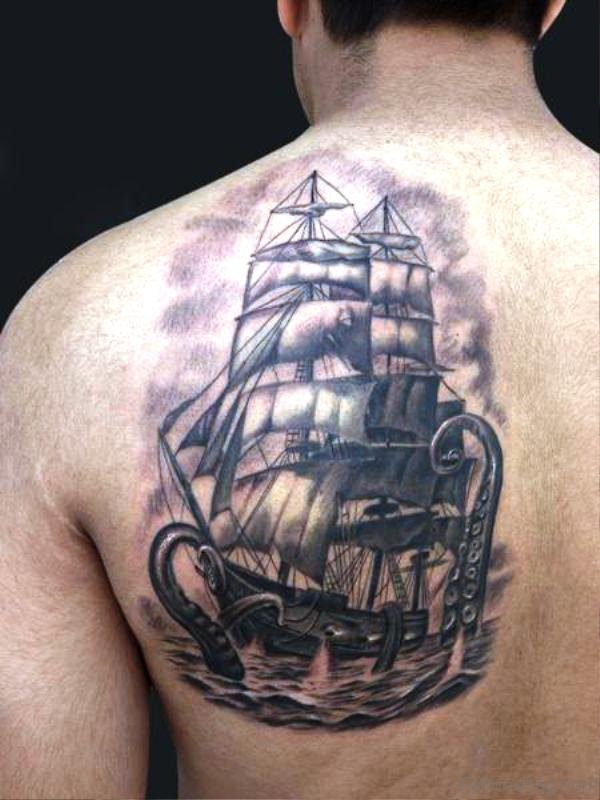 Octopus Attacking Ship Tattoo On Back Shoulder