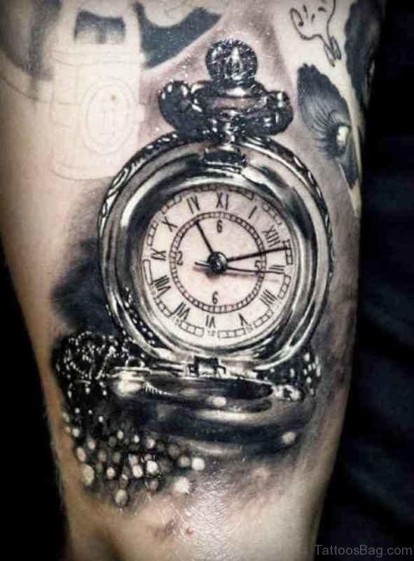 Old Clock Tattoo Design